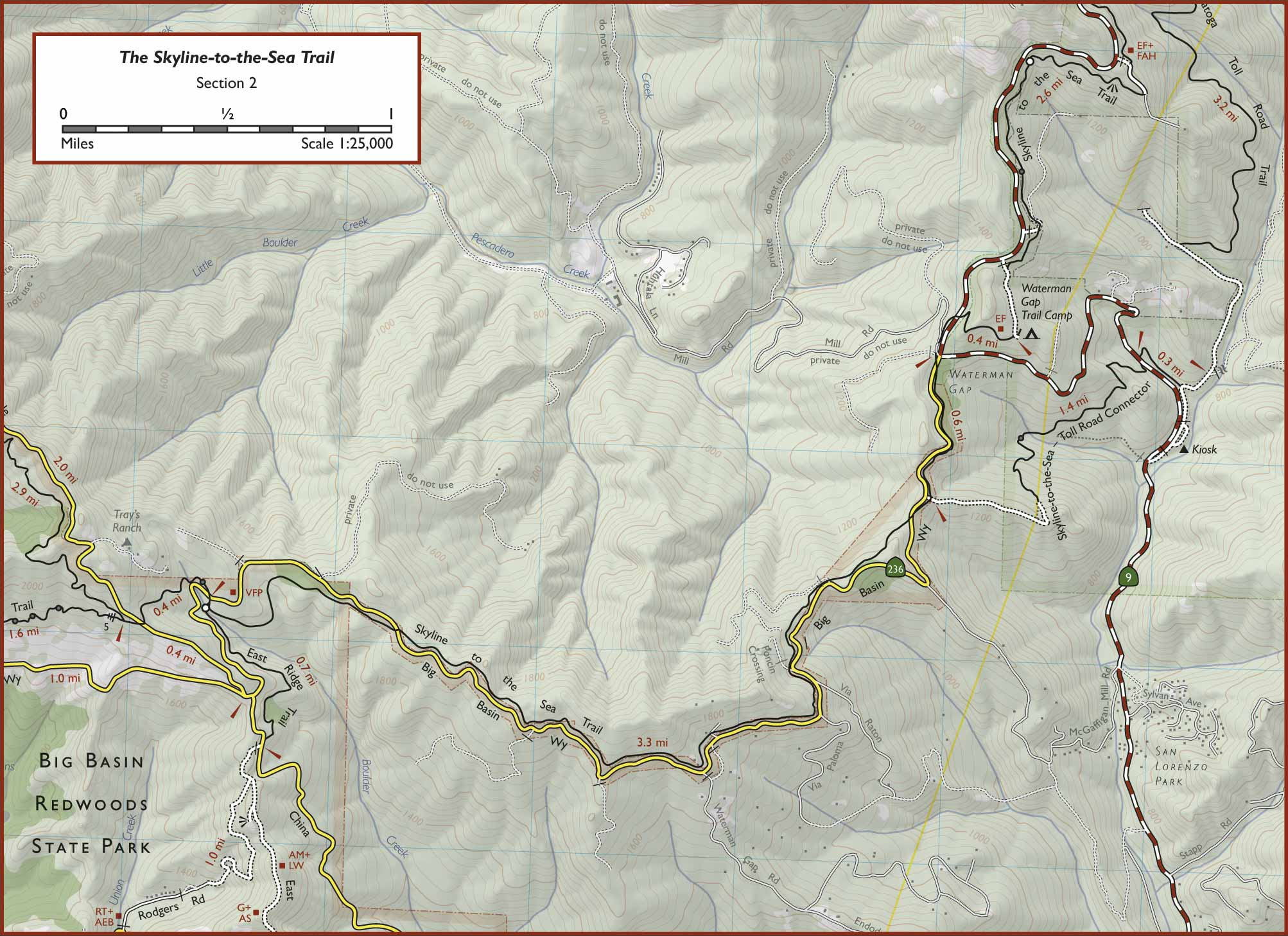 Skyline to the Sea Trail map
