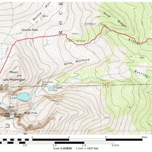 Longs North Face route - approximate route of the fastest overall times