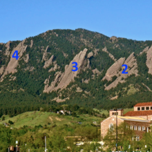 5 numbered Flatirons, photo by Anton Krupicka