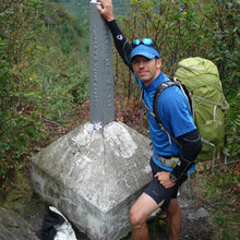 Travis Wildeboer at the northern terminus of the Long Trail