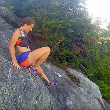 Nikki Kimball on a technical section of the Long Trail
