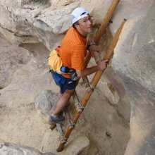 Peter Bakwin on the climb out of Mee Canyon, photo by Buzz Burrell