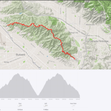 Verdugo Mountains Traverse map & Double Traverse profile