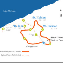 Indiana Dunes State Park, 3 Dunes Challenge map