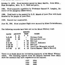 "Historical records on Whitney from ""Climbing Mount Whitney"" by W. Wheelock & T. Condon (1970)"