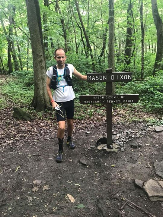 Harvey Lewis at the Mason Dixon Line on Day 23